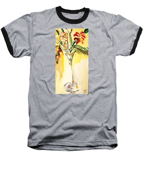 Flowers Flowing In Yellow Baseball T-Shirt by Amara Dacer
