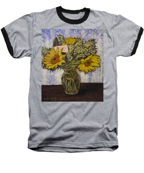 Baseball T-Shirt featuring the painting Flowers For Janice by Ron Richard Baviello