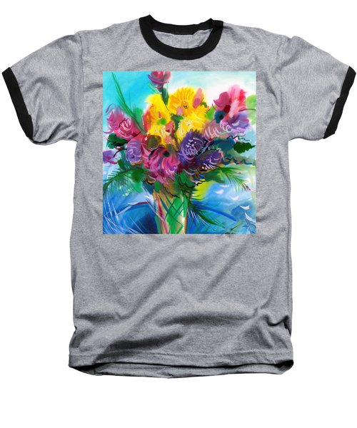 Baseball T-Shirt featuring the painting Flowers For My Jesus by Karen Showell