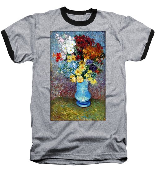 Baseball T-Shirt featuring the painting Flowers In A Blue Vase  by Van Gogh