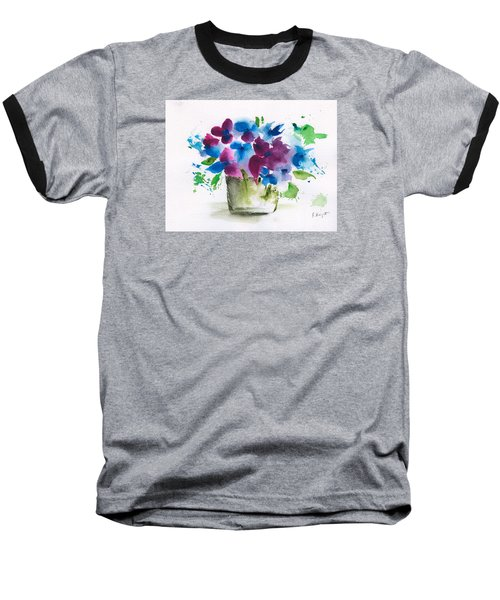 Flowers In A Glass Vase Abstract Baseball T-Shirt by Frank Bright