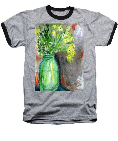 Flowers In A Green Jar- Art By Linda Woods Baseball T-Shirt