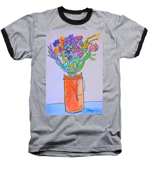 Flowers In An Orange Mason Jar Baseball T-Shirt