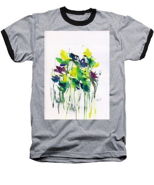 Flowers In Grass Abstract Baseball T-Shirt