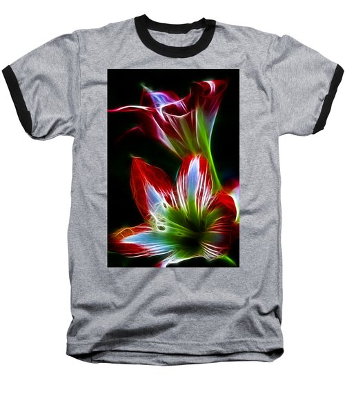 Flowers In Green And Red Baseball T-Shirt