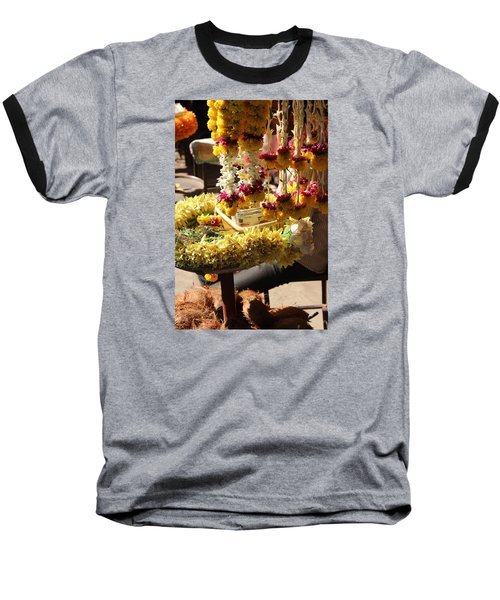 Flowers In The Market, Near Sajjangad 2 Baseball T-Shirt by Jennifer Mazzucco