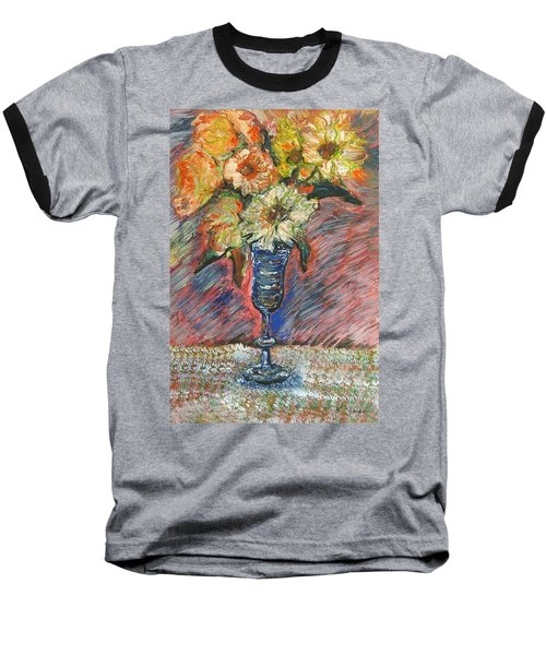 Flowers In Wine Glass Baseball T-Shirt