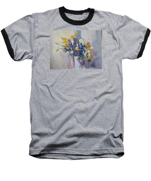 Tulips Flowers Baseball T-Shirt by Khalid Saeed