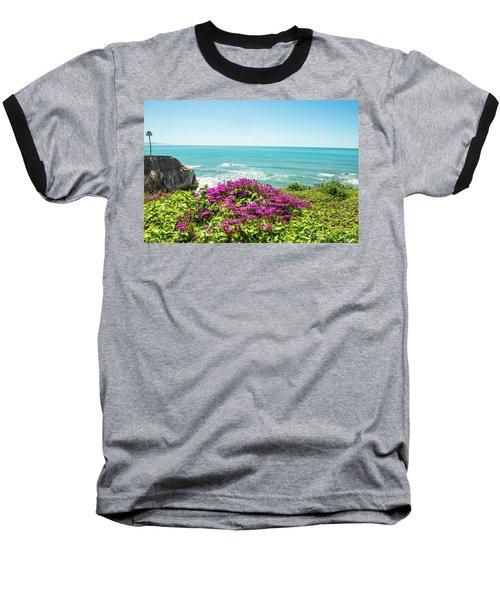 Flowers On The Cliff Baseball T-Shirt