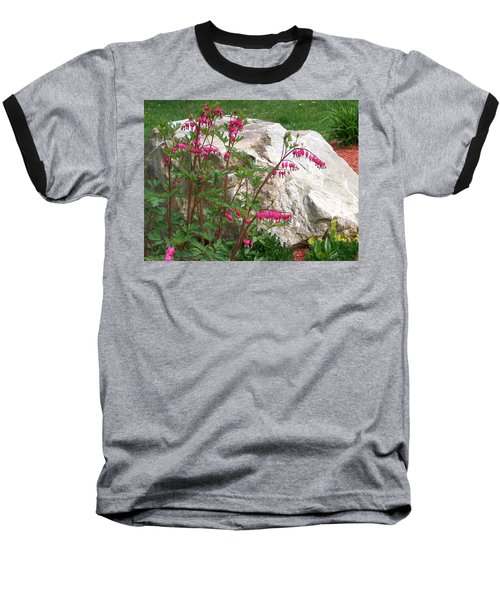 Baseball T-Shirt featuring the digital art Flowers On The Rocks by Barbara S Nickerson
