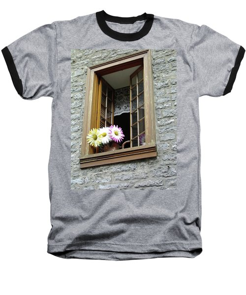 Baseball T-Shirt featuring the photograph Flowers On The Sill by John Schneider