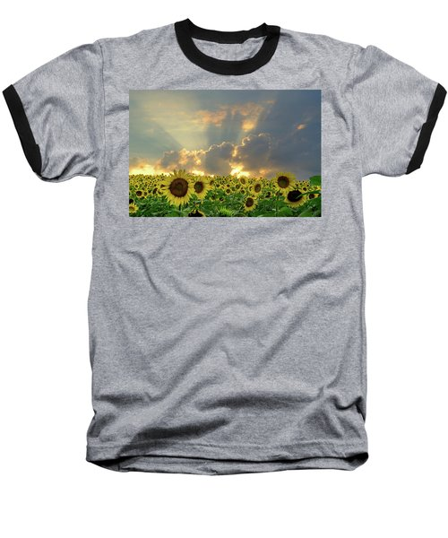 Flowers, Pillars And Rays, His Glory Will Shine Baseball T-Shirt by Janice Adomeit