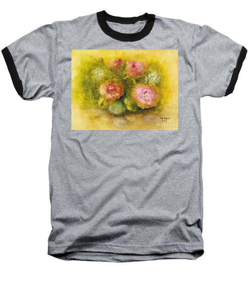 Baseball T-Shirt featuring the painting Flowers Pink by Marlene Book