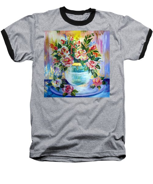 Baseball T-Shirt featuring the painting Flowers Still Life  by Roberto Gagliardi