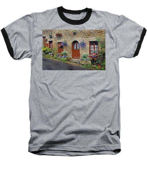 Flowery Doorways In Brittany Baseball T-Shirt by Dave Mills