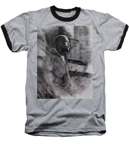 Baseball T-Shirt featuring the drawing Reflections Of Floyd Mayweather by Noe Peralez