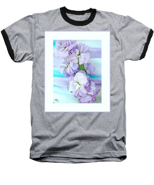 Baseball T-Shirt featuring the mixed media Fluffy Flowers by Marsha Heiken