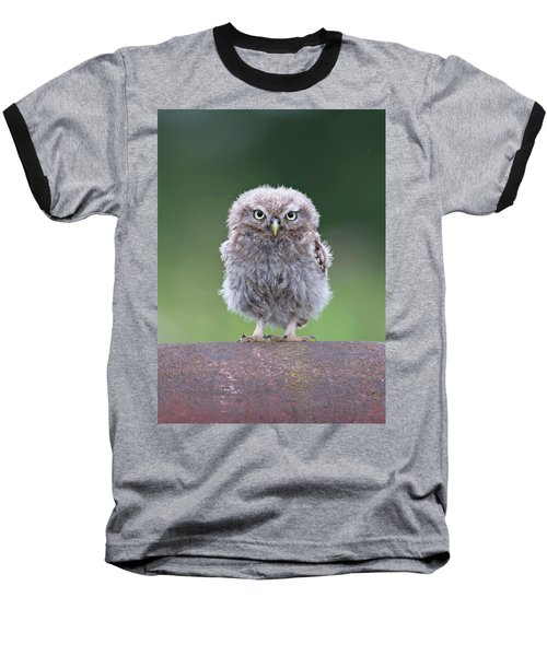 Fluffy Little Owl Owlet Baseball T-Shirt