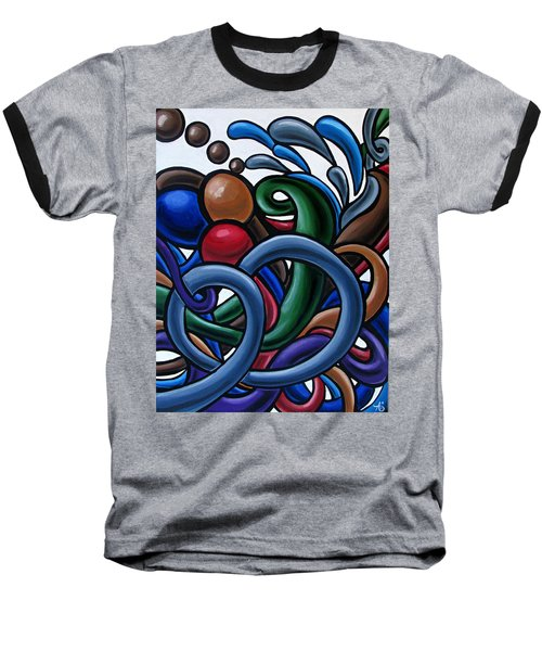 Colorful Abstract Art Painting Chromatic Water Artwork Baseball T-Shirt