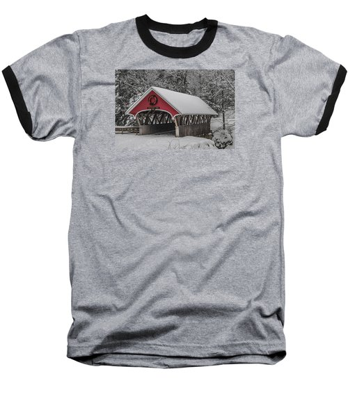 Flume Covered Bridge In Winter Baseball T-Shirt