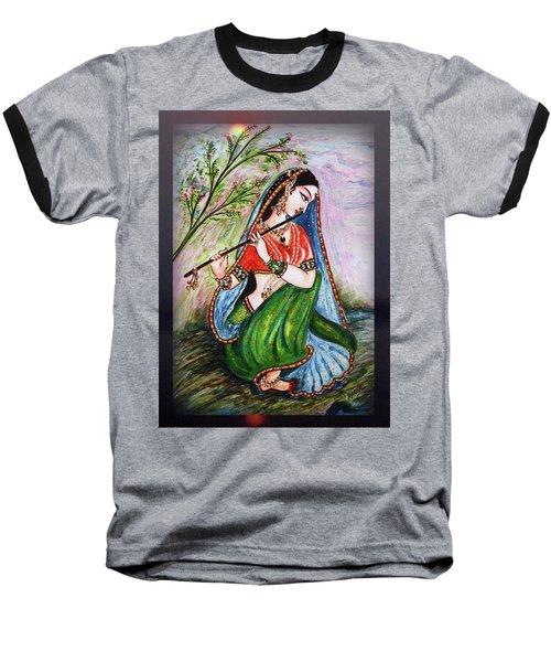 Flute Playing In - Krishna Devotion  Baseball T-Shirt