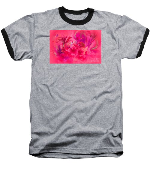 Flower Art Pinky Pink  Baseball T-Shirt