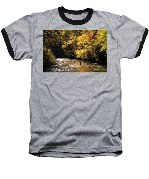 Baseball T-Shirt featuring the photograph Fly Fisherman On The Tellico - D010008 by Daniel Dempster