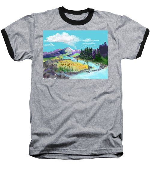 Fly Fishing With Aa Wooly Worm. Baseball T-Shirt