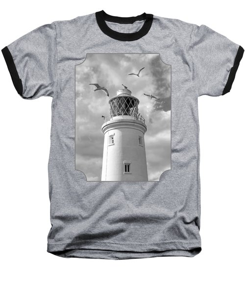 Fly Past - Seagulls Round Southwold Lighthouse In Black And White Baseball T-Shirt by Gill Billington