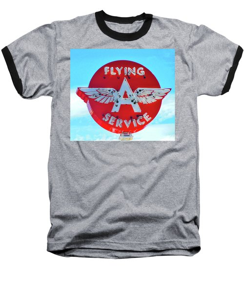 Flying A Service Sign Baseball T-Shirt by Joan Reese