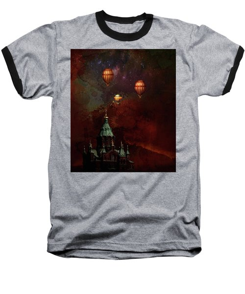 Baseball T-Shirt featuring the digital art Flying Balloons Over Stockholm by Jeff Burgess