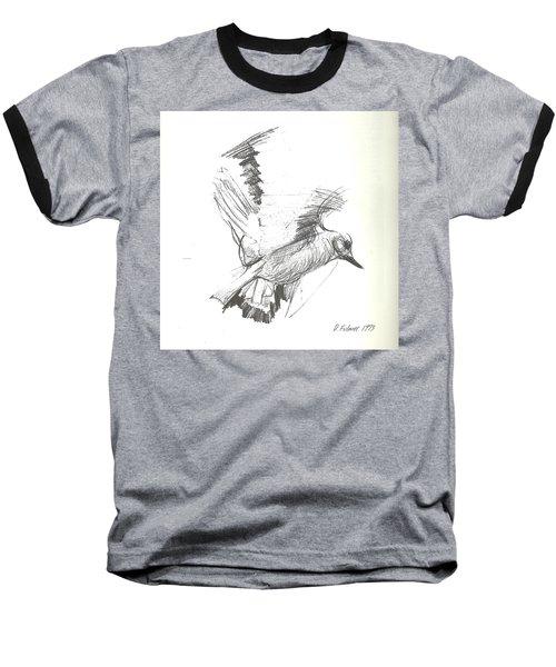 Flying Bird Sketch Baseball T-Shirt