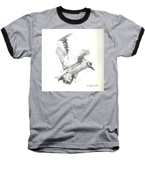 Flying Bird Sketch Baseball T-Shirt