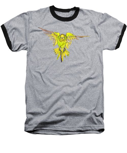 Flying Budgie Baseball T-Shirt by Lorraine Kelly