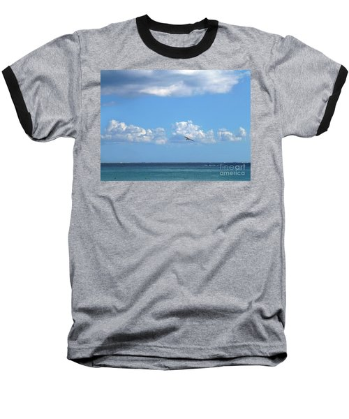 Baseball T-Shirt featuring the photograph Flying By The Sea by Francesca Mackenney