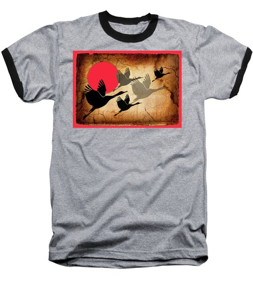 Flying Cranes Baseball T-Shirt