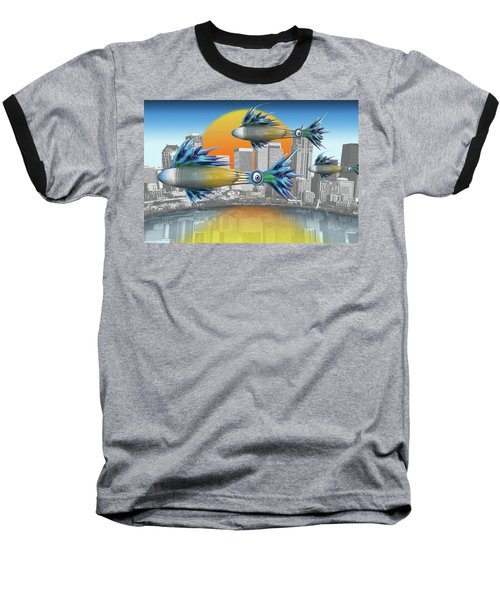 Flying Fisque  Baseball T-Shirt by Steve Sperry