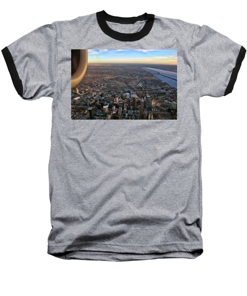 Flying Over Cincinnati Baseball T-Shirt by Joann Vitali