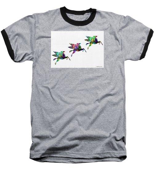 Flying Pegasus Rainbow Baseball T-Shirt