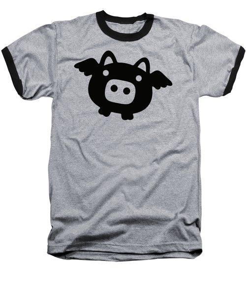 Flying Pig - Black Baseball T-Shirt