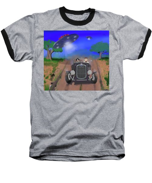 Flying Saucers Attack Teenage Hot Rodders Baseball T-Shirt by Ken Morris