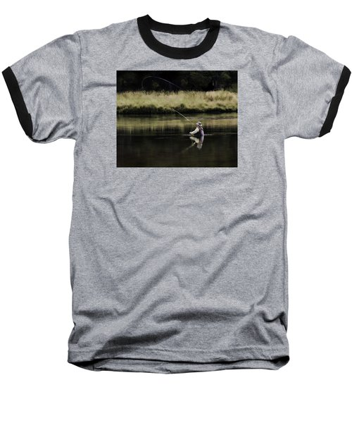 Flying Solo Baseball T-Shirt by Elizabeth Eldridge