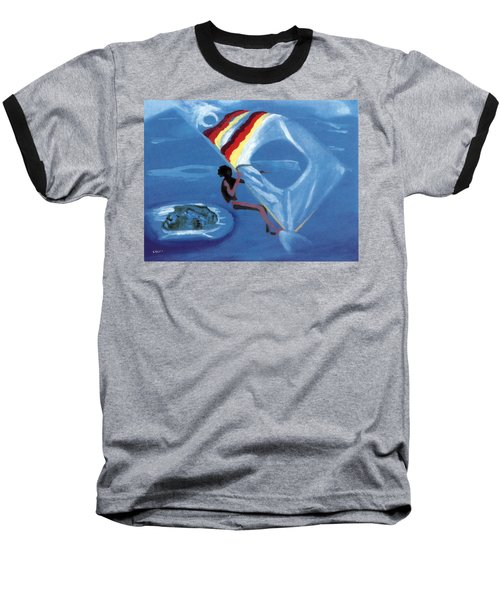 Flying Windsurfer Baseball T-Shirt