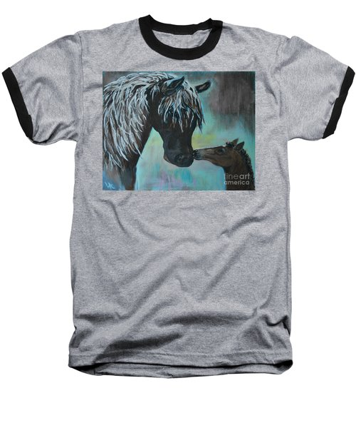Baseball T-Shirt featuring the painting Foal Kiss by Leslie Allen