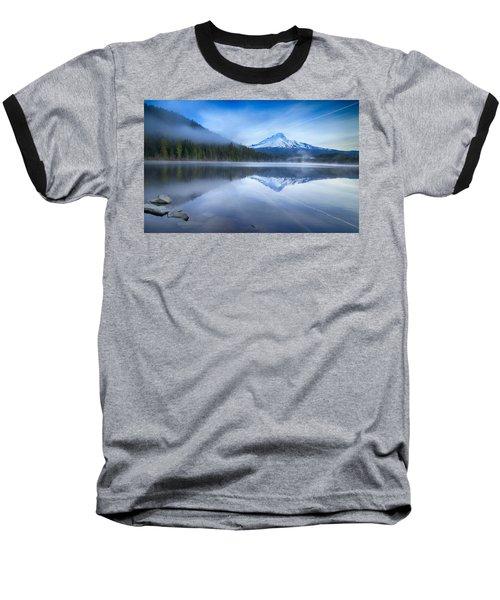 Fog And The Lake Baseball T-Shirt by Lynn Hopwood