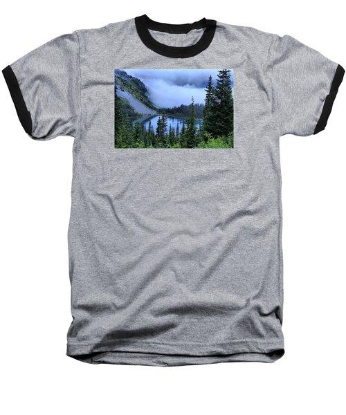 Fog Over Louise Lake Baseball T-Shirt by Lynn Hopwood