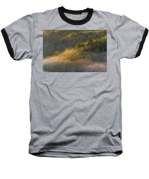 Fog Playing In The Forest Baseball T-Shirt