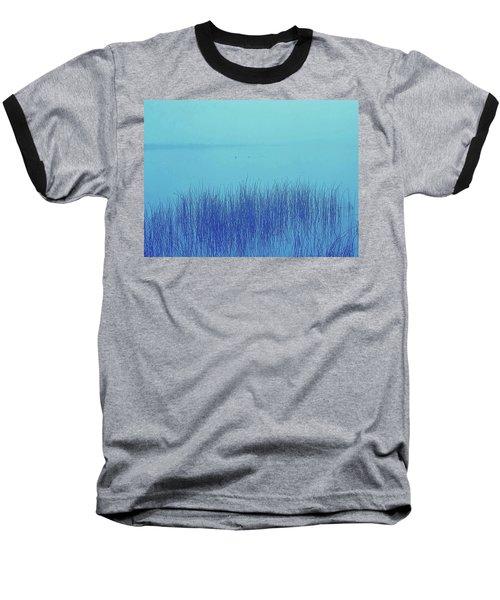 Fog Reeds Baseball T-Shirt by Laurie Stewart