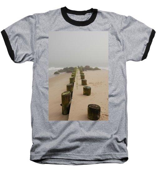 Fog Sits On Bay Head Beach - Jersey Shore Baseball T-Shirt