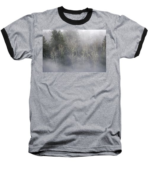 Foggy Alders In The Forest Baseball T-Shirt